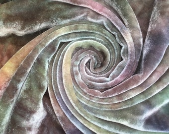 Hand Dyed Silk Velvet, Colour No.22 Silver Birch, Hand Dyed Devore Silk