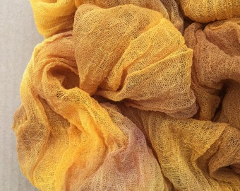 Cotton Scrim, Hand Dyed Gauze, Openweave Fabric, Dyed Butter Muslin, Nuno felting, UK Seller, Colour No.07 Yellow Ochre