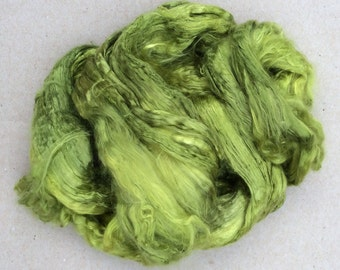 Hand Dyed Grade A1 Mulberry Silk Brick, Spinning, Feltmaking Colour No.82 Chartreuse