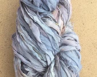 Sari Ribbon Hand Dyed, Lilacs, Greys and Pinks, Silk Ribbon, Wide Silk Ribbon, 100g, ref.6