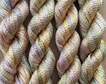 Hand Dyed Viscose Ribbon, 10/167 Viscose Ribbon, Rayon Ribbon, Embroidery, Thread, Canvaswork, Needlepoint, Gold, Beige,