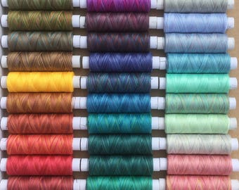 Hand Dyed Cotton Machine Thread,42 x 150m spool selection, Machine Embroidery, machine Quilting
