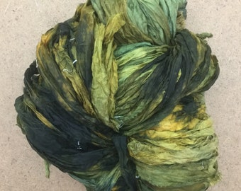 Sari Silk Chiffon Ribbon Hand Dyed, Silk Ribbon, Wide Silk Ribbon, Silk Chiffon Ribbon, Colour Evergreen, Chartreuse, Yellow Ochre