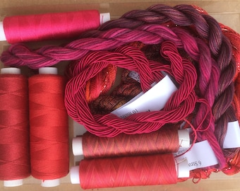 Thread Collections, Hand Dyed Embroidery Threads, Hand Dyed Machine Threads, Hand Dyed Quilting Threads, Flamenco