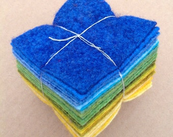 Felt Tower, 24 pieces of Hand Dyed Wool and Viscose Felt, Blue, Green, Yellow