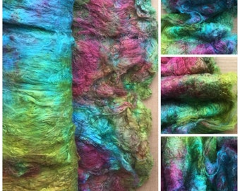 Hand Dyed Mulberry Silk Laps, Colour No.09 Apple, Textured Silk, Combed Silk Laps, Feltmaking, Spinning, Green, Turquoise, Red, Purple
