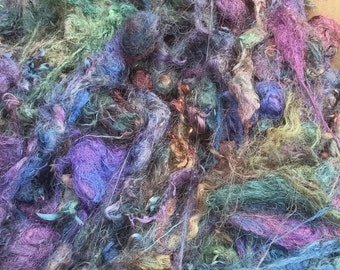 Silk Throwsters Waste, Silk Filament Waste, Hand Dyed Mulberry Silk Waste Fibre, Colour No.53 Spruce