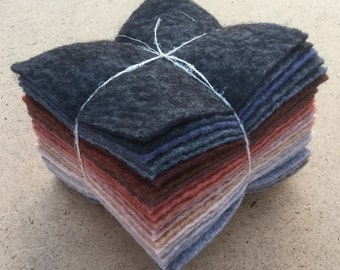 Felt Tower, 24 pieces of Hand Dyed Wool and Viscose Felt, Multi shades of Grey and Tan