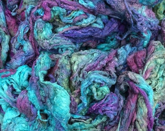 Hand Dyed Silk Noil, Purple,Turquoise mix, Mulberry Silk Fibres, Spinning