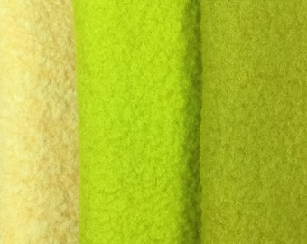 Felt Trio, Hand Dyed Wool and Viscose Felt, 3 Piece Felt Selection, Chartreuse, Lime Green, Buttermilk, 04