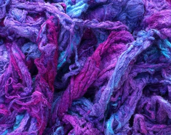 Hand Dyed Silk Noil, Purple, Cerise, Turquoise mix, Mulberry Silk Fibres, Spinning