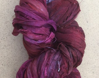 Sari Ribbon Hand Dyed, Rich Red and Aubergine, Silk Ribbon, Wide Silk Ribbon, 100g, ref.5
