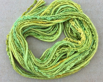 Silk Tidbits, No.50 Lime and Lemon, Hand Dyed Embroidery Threads, Creative Embrodery