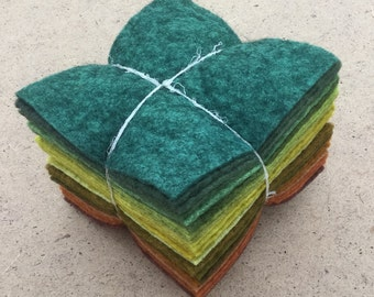 Felt Tower, 24 pieces of Hand Dyed Wool and Viscose Felt, Green and Browns