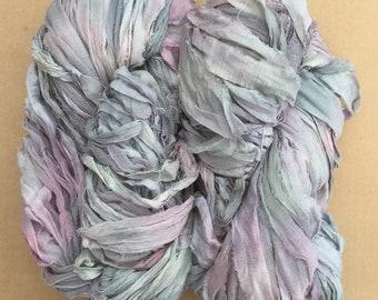 Sari Silk Chiffon Ribbon Hand Dyed, Silk Ribbon, Wide Silk Ribbon, Silk Chiffon Ribbon, Colour No.56 Pebble