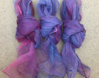 Nylon Squares, Hand Dyed, Variegated, Nuno Felting, Nylon Scarf,  Accessory, Colour Dusky Lilac and Cerise
