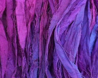 No.05 Violet, Sari Ribbon Hand Dyed, Silk Ribbon, Wide Silk Ribbon