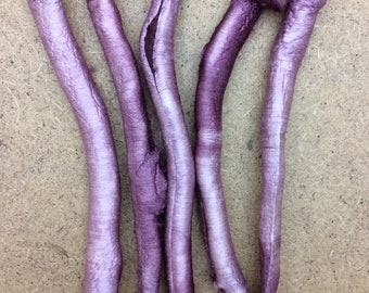 Hand Dyed Silk Carrier Rods, Mulberry Silk Fibres, Silk Tubes, Dusky Pink