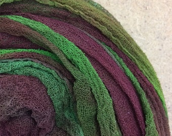 Hand dyed Cotton Scrim, Gauze, Scarf for nuno felting, art and mixed media projects.  Colour No.54 Moss