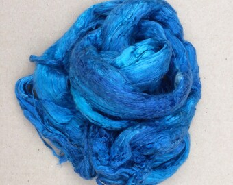 Hand Dyed Grade A1 Mulberry Silk Brick, Spinning, Feltmaking, Colour  No.03 Sky