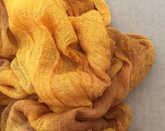Hand Dyed Cotton Scrim, 6 metre length, No.07 Yellow Ochre, openweave Fabric, Cotton Gauze, Table Runner, Photography Prop, Nuno Felting