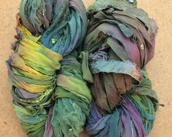 Sari Silk Chiffon Ribbon with minimal Lace Inclusions, Hand Dyed Silk Chiffon Ribbon, Sari Ribbon, ref.104