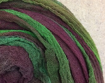 Hand Dyed Cotton Scrim, 6 metre length, Openweave Fabric, Cotton Gauze, Table Runner, Photography Prop, Nuno Felting,  Colour No.54 Moss