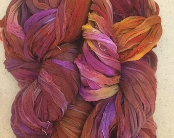 Sari Silk Chiffon Ribbon Hand Dyed, Sari Silk Ribbons, Silk Ribbon, Wide Silk Ribbon, Silk Chiffon Ribbo, Ref.11