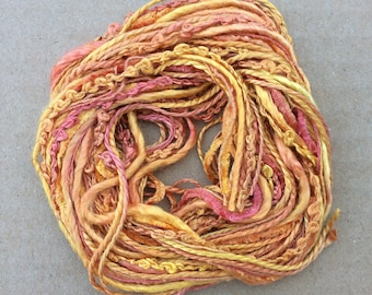 Silk Tidbits, No.07 Yellow Ochre, Hand Dyed Embroidery Threads, Creative Embrodery