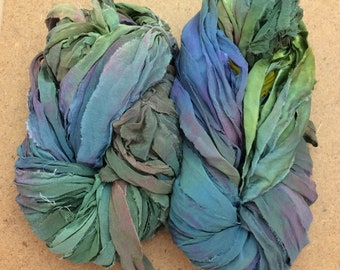 Sari Silk Bridal Chiffon Ribbon, Hand Dyed Silk Chiffon Ribbon, Sari Ribbon, ref. 102