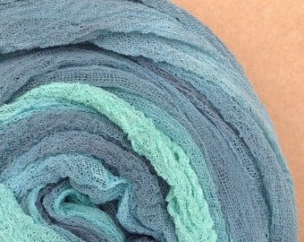 Hand Dyed Cotton Scrim, No.33 Aquamarine, Gauze, Art Cloth, Scarf for nuno felting, art and mixed media projects, 1 metre