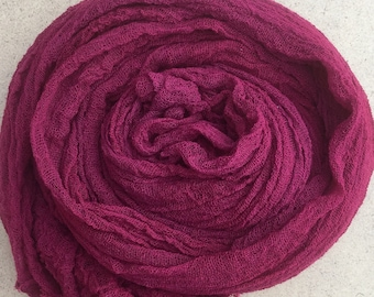 Hand dyed Cotton Scrim, Crimson, Gauze, Art Cloth, Scarf for nuno felting, Art and Mixed Media projects