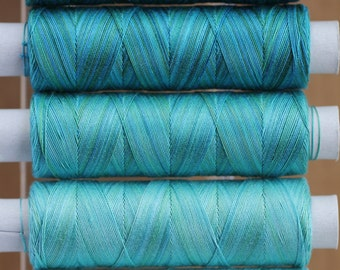 Lagoon Tones, Hand Dyed Cotton Machine Embroidery Thread, Machine Quilting Thread, Tatting, Crochet, Creative Embroidery/Quilting