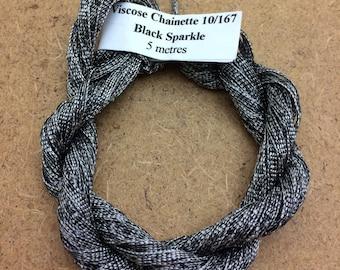 Viscose Chainette Sparkler, 10/167 Viscose and Black Lurex Chainette Thread, Artisan Thread, Textile Art