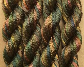 Hand Dyed Viscose Ribbon, 10/167 Viscose Ribbon, Rayon Ribbon, Embroidery, Thread, Canvaswork, Needlepoint, Colour No.15 Sludgy Green