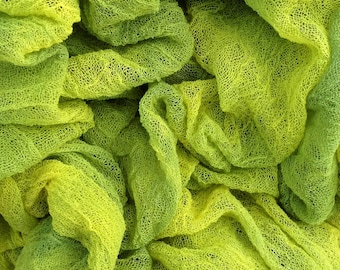 Hand Dyed Cotton Scrim, 6 metre length, Openweave, Cotton Gauze, Table Runner, Photography Prop, Nuno Felting, Colour No.82 Chartreuse
