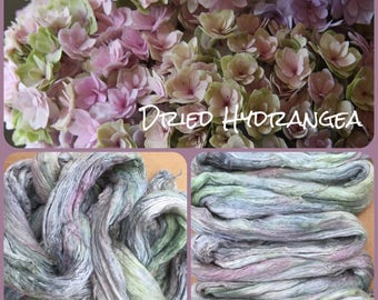 Hand Dyed A1 Silk Brick, Mulberry Silk Fibres, Silk Roving, Spinning, Nuno Felting, No.85 Dried Hydrangea