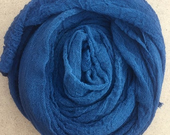 Hand dyed Cotton Scrim, Airforce Blue, Gauze, Art Cloth, Scarf for nuno felting, Art and Mixed Media projects