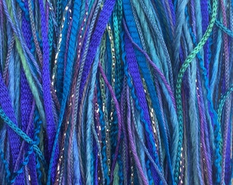 Electric Blue, One Off Special, Limited Edition, Hand Dyed Embroidery Thread, Textured Threads, Variegated Threads
