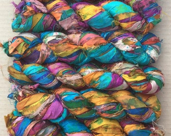 Sari Silk Ribbon Overdyed, Variegated Sari Ribbon,  Silk Ribbon, Wide Silk Ribbon, Colour - Multicoloured