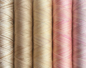 Pastel Selection, Hand Dyed Silk Machine Threads, Connoisseur Pack, Luxury Mach ine Thread, Set of 5 x 120m (130yds)