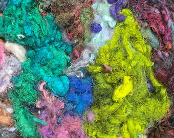 HALF PRICE, Pot Luck Silk Pack, Silk Throwsters Waste, Silk Filament Waste, Hand Dyed Mulberry Silk Waste Fibre, Colours across the Spectrum