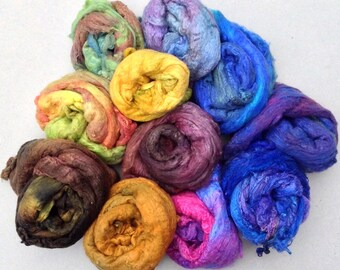 Silk Laps, Hand Dyed Mulberry Silk Laps, Silk Pick and Mix Selection, Silk Roving, Feltmaking Supply, Spinning Supply, 100g (3.5oz)