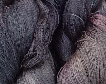 Cobweb Lace Silk Yarn, Hand Dyed Spun Silk Yarn, Weaving, Cobweb Lace Knitting Yarn, No.71 Chestnut
