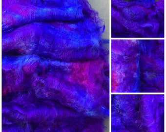 Hand Dyed Silk Laps, Colour No.05 Violet, Mulberry Silk Fibre, Combed Laps