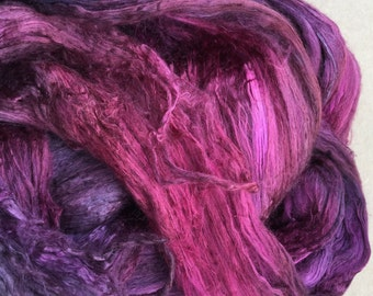 Silk Brick, Hand Dyed Mulberry Silk Brick, Luxury Silk Fibre, Silk Roving, Spinning, Red, Cerise, Burgundy, No.17 Ruby