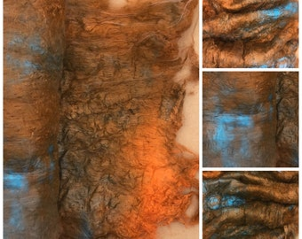 Hand Dyed Mulberry Silk Laps, Textured Silk, Combed Silk Laps, Feltmaking, Spinning, Colour No.21 Rust, Burnt Orange, Turquoise
