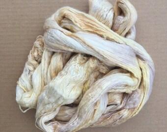 Hand Dyed A1 Silk Brick, No.84 Buttermilk, Mulberry Silk Fibres, Silk Roving, Spinning, Nuno Felting, Creative Embroidery, Feltmaking