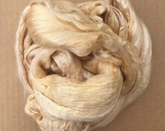 Hand Dyed Silk Brick, Hand Dyed Silk Tops, Mulberry Silk Brick, Pure Mulberry Silk Fibres, Spinning, UK Seller, Buttermilk