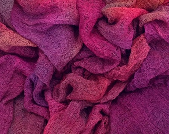 Hand Dyed Cotton Scrim, Cotton Gauze,/Scarf length for Nuno Felting, Mixed Media Projects, Colour No. 17 Ruby - Red, Cerise, Purple, 1008